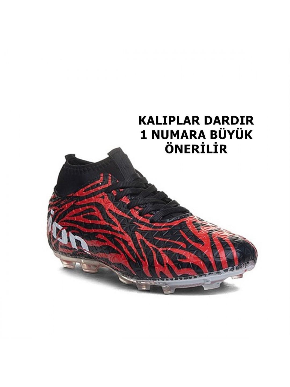 Freelion  Siyah Kırmızı 380  Yeni Sezon Çoraplı  Erkek Çocuk Krampon